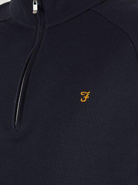 Farah Vintage True Navy Yves Quarter Logo Half Zip Jacket