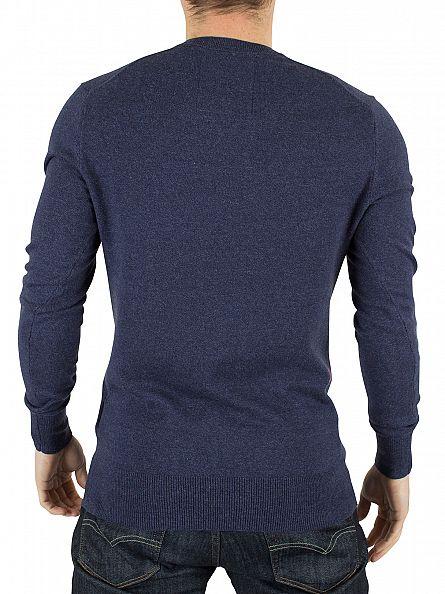 Superdry Dull Navy Orange Label V-Neck Knit