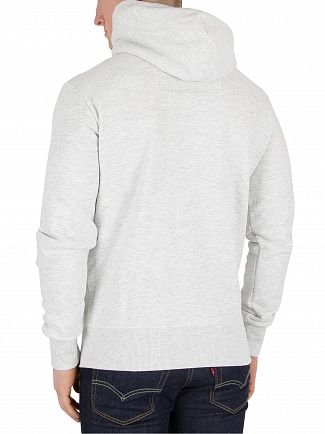 Superdry Ice Marl Orange Label Zip Logo Hoodie