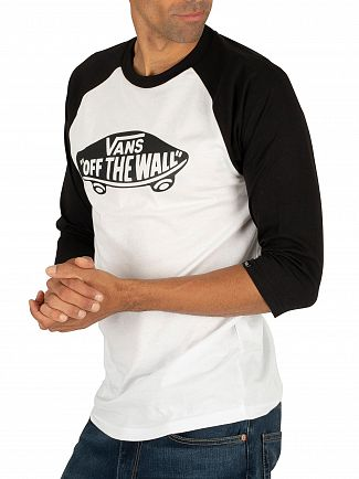 Vans White/Black Off The Wall Logo Raglan T-Shirt