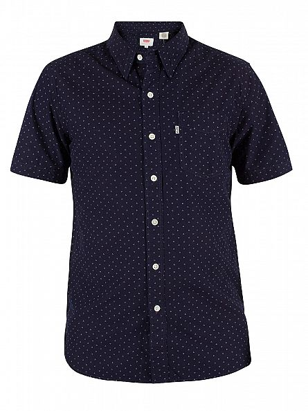 Levi's Navy Shortsleeved Sunset Synthesizer Shirt