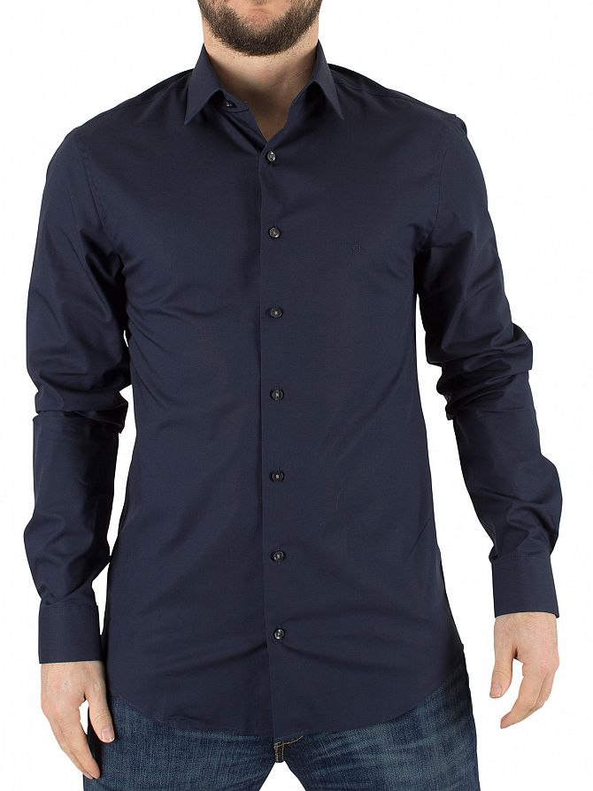 Calvin klein midnight blue slim fit bari shirt stand out for Calvin klein slim fit stretch shirt
