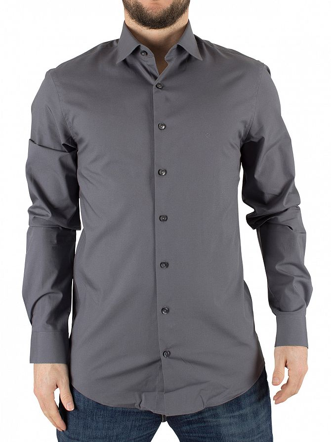 Calvin Klein Charcoal Slim Fit Bari Shirt