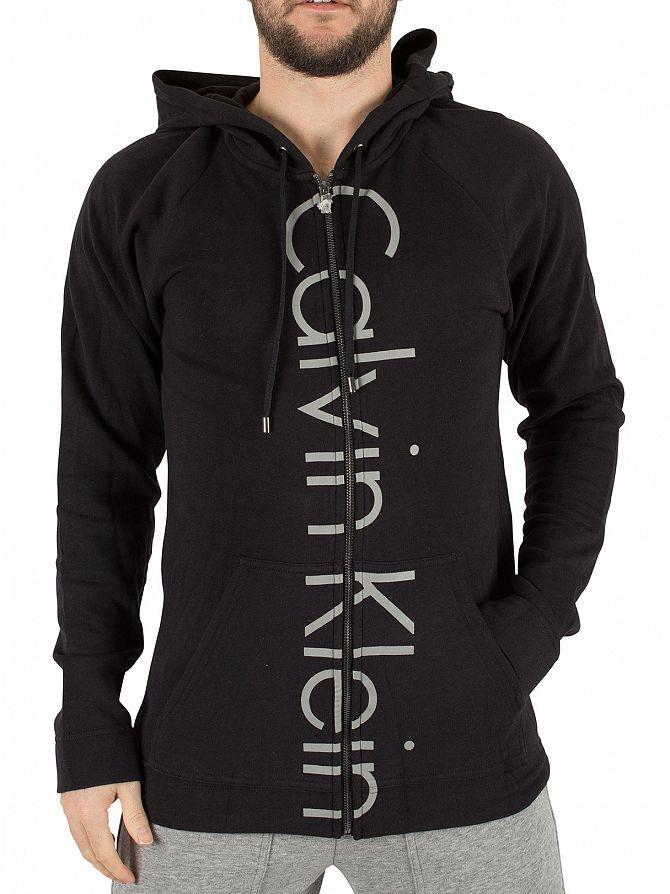 Calvin Klein Black Vertical Logo Marled Zip Hoodie