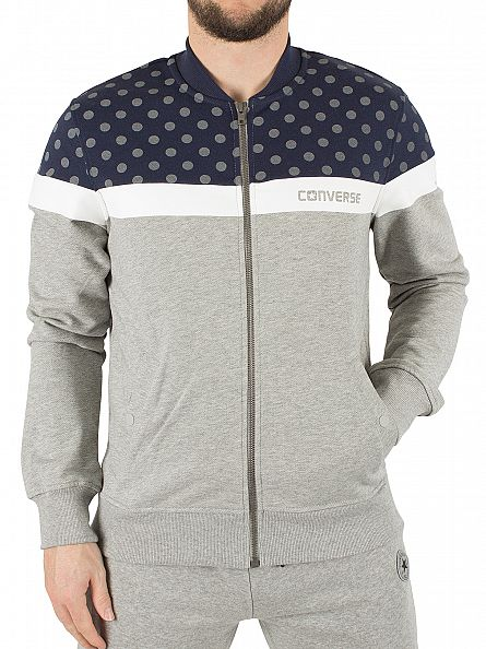 Converse Vintage Grey Heather/Multi Microdot Panel Logo Zip Track Top