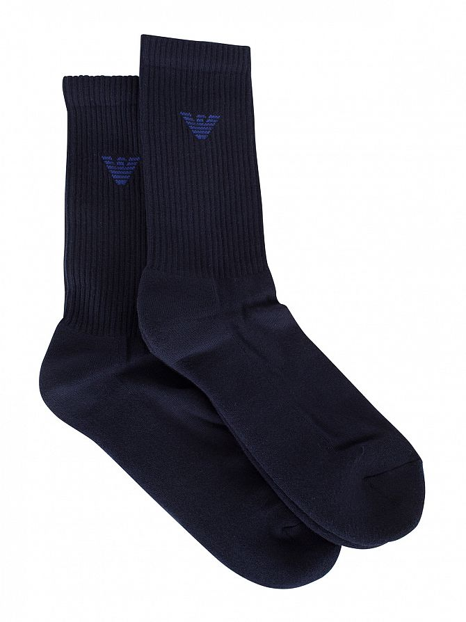 Emporio Armani Blue 2 Pack Ribbed Logo Socks