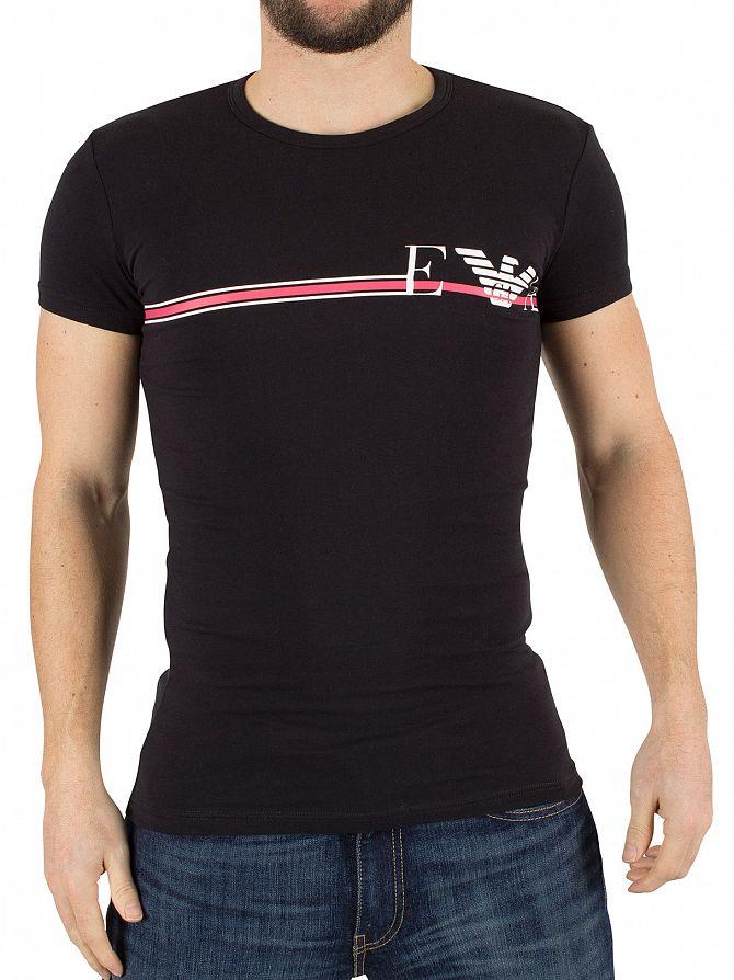 Emporio Armani Black Horizontal Stripe Logo T-Shirt