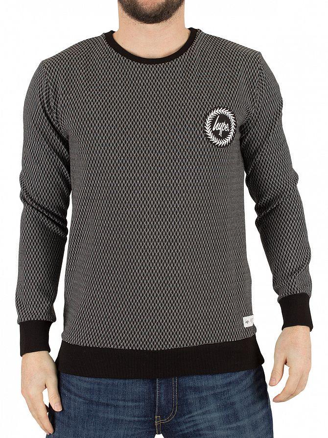 Hype Black Aluminium Pattern Crest Logo Sweatshirt