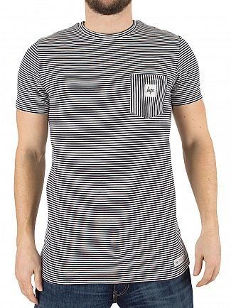 Hype Navy/White Striped Pocket Logo T-Shirt