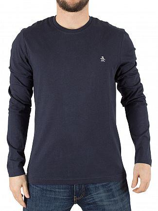 Original Penguin Dark Sapphire Longsleeved Pin Point Logo T-Shirt