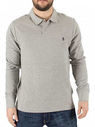 Original Penguin Rain Heather Longsleeved Slim Fit Logo Polo Shirt