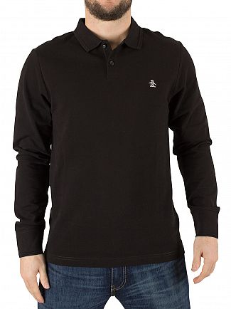 Original Penguin True Black Longsleeved Slim Fit Logo Polo Shirt