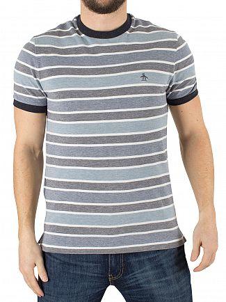 Original Penguin Dark Sapphire Striped Multi Logo T-Shirt