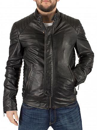 Scotch & Soda Black Leather Biker Jacket