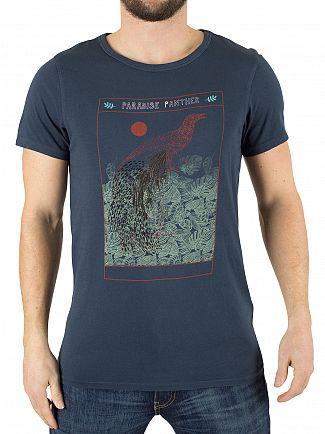 Scotch & Soda Denim Blue Paradise Panther Graphic T-Shirt