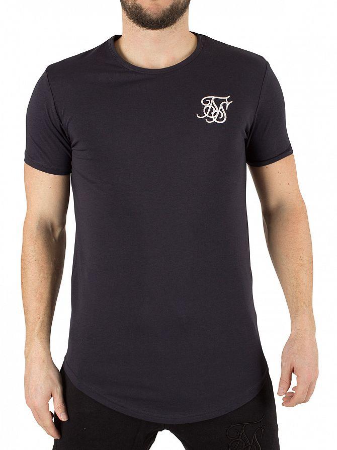 Sik Silk Navy Curved Hem Logo Gym T-Shirt
