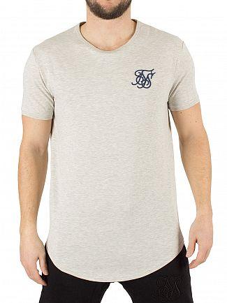 Sik Silk Snow Marl Curved Hem Logo Gym T-Shirt