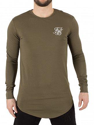 Sik Silk Khaki Longsleeved Curved Hem Gym Logo T-Shirt