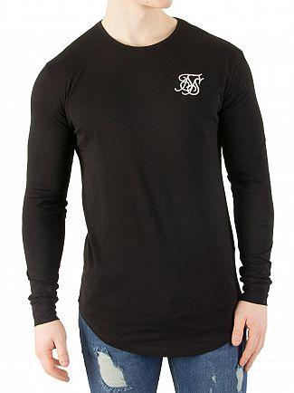Sik Silk Black Longsleeved Curved Hem Gym Logo T-Shirt