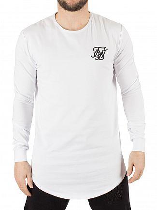 Sik Silk White Longsleeved Curved Hem Gym Logo T-Shirt