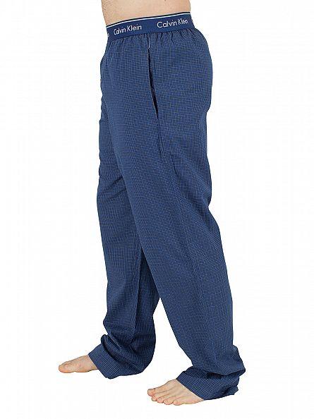 Calvin Klein Navy Checked Logo Waistband Pyjama Bottoms
