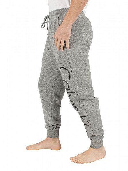 Calvin Klein Mid Grey Marl Vertical Graphic Logo Jogging Bottoms