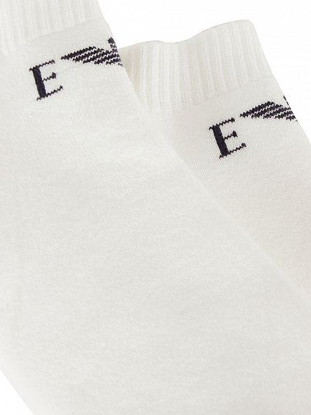 Emporio Armani White 2 Pack Logo Ankle Socks