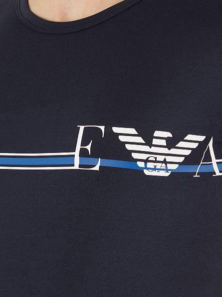 Emporio Armani Navy Horizontal Stripe Logo T-Shirt
