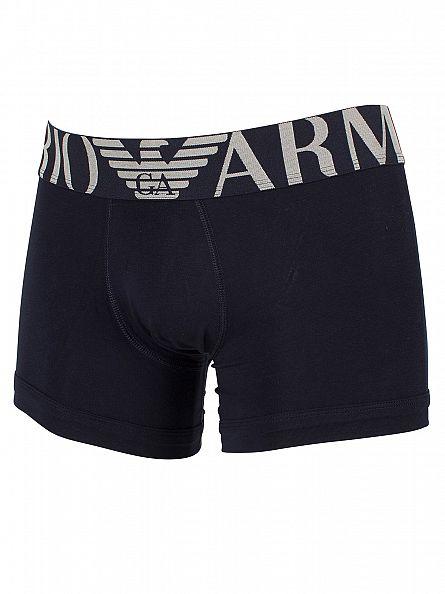 Emporio Armani Marine Stretch Cotton Logo Waistband Trunks