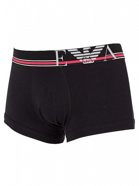 Emporio Armani Black Stretch Cotton Logo Waistband Trunks
