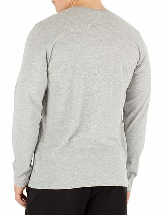 Calvin Klein Light Grey Longsleeved Marled Logo T-Shirt