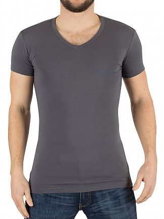 Emporio Armani Grey/Light Blue 2 Pack V-Neck Logo T-Shirt