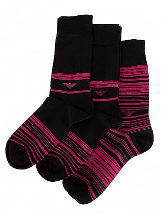 Emporio Armani Black/Pink 3 Pack Logo Striped Socks