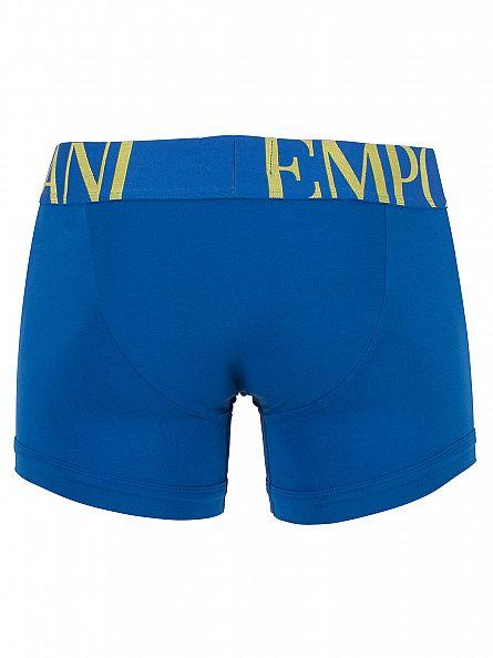 Emporio Armani China Blue Stretch Cotton Logo Waistband Trunks