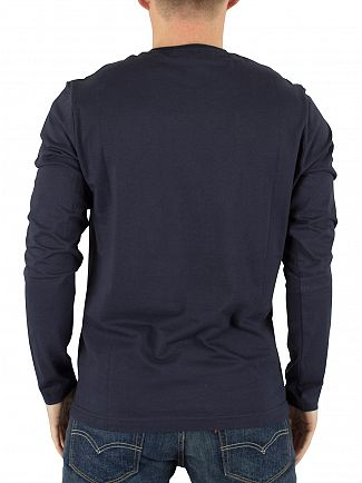 Original Penguin Dark Sapphire Longsleeved Pin Point Logo T-Shirt