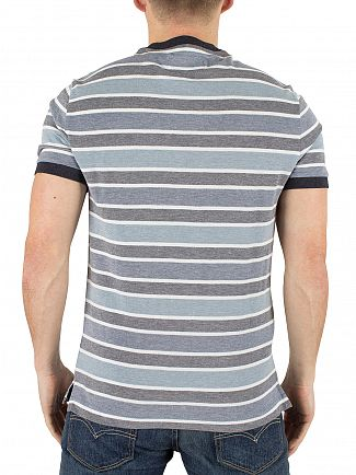 Original Penguin Dark Sapphire Striped Multi Logo T-Shirt