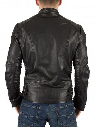 Scotch & Soda Black Leather Biker Jacket