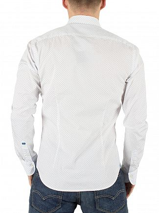 Scotch & Soda White Slim Fit All Over Pattern Curved Hem Shirt