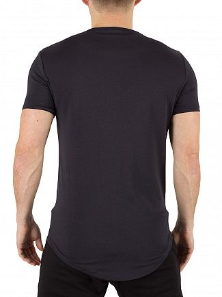 Sik Silk Navy Curved Hem Logo Gym T-Shirt