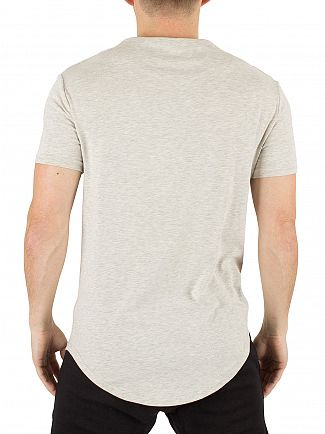 Sik Silk Snow Marl Curved Hem Logo Gym T-Shirt
