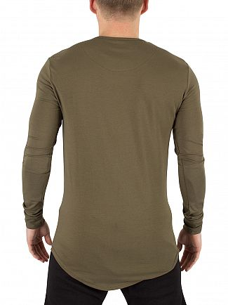 Sik Silk Khaki Longsleeved Curved Hem Gym Logo T-Shirt
