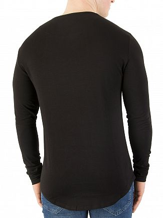 Sik Silk Black Longsleeved Curved Hem Gym Logo T-Shirt