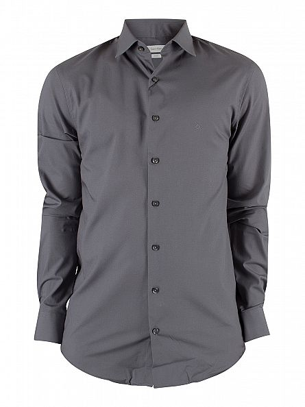 Calvin klein charcoal slim fit bari shirt stand out for Calvin klein slim fit stretch shirt