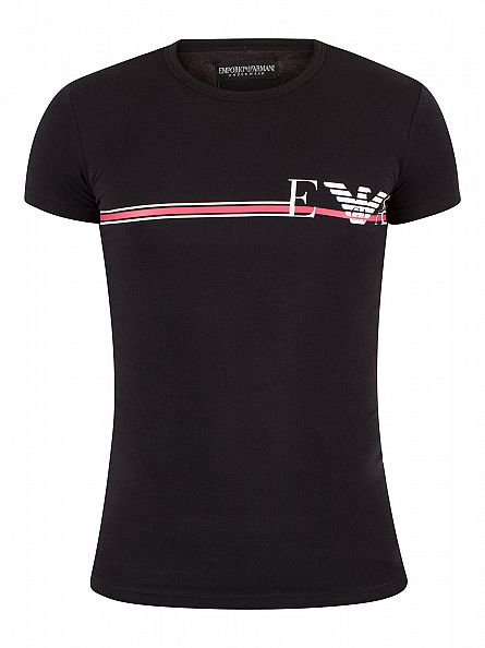 Emporio Armani Black Horizontal Stripe Logo T Shirt