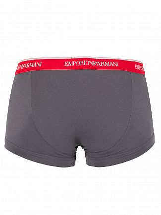 Emporio Armani Anthracite/Red/White 3 Pack Stretch Cotton Logo Trunks