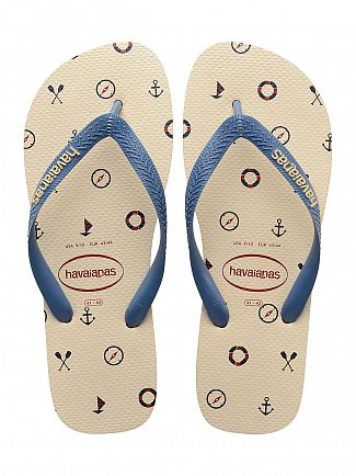 Havaianas Beige Top Nautical Flip Flops