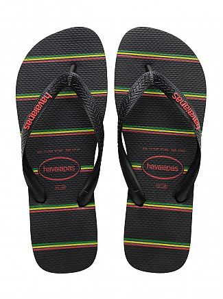 Havaianas Black/Red Top Stripes Logo Flip Flops