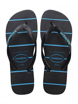 Havaianas Black/Blue Top Stripes Logo Flip Flops