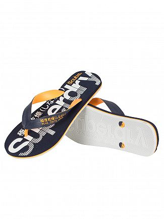 Superdry Dark Navy/Fluro Orange/Optic Scuba Graphic Flip Flops