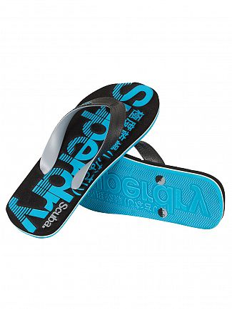 Superdry Black/Dove Grey/Fluro Blue Scuba Graphic Flip Flops